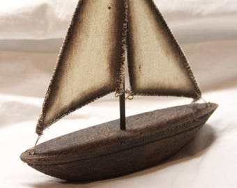 Resin cast sailboat / ship with cloth sails