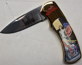 """Easyriders David Mann """"Fight For Your Right"""" collectors knife (N0157)"""