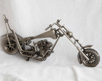 Miniature motorcycle chopper novelty.  All metal