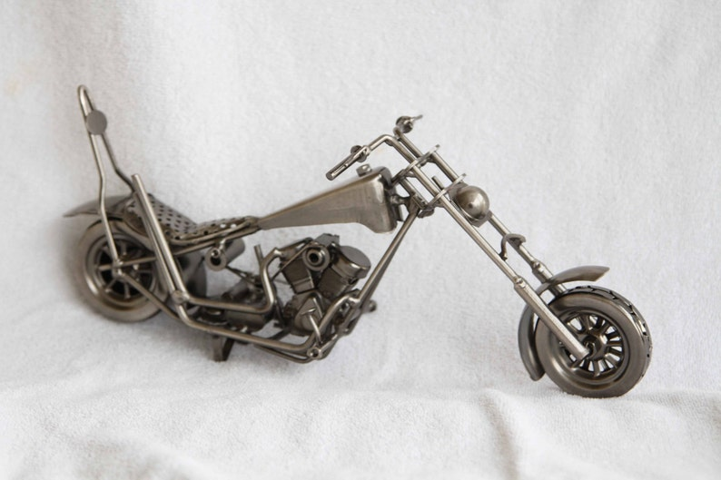 Miniature motorcycle chopper novelty.  All metal image 0