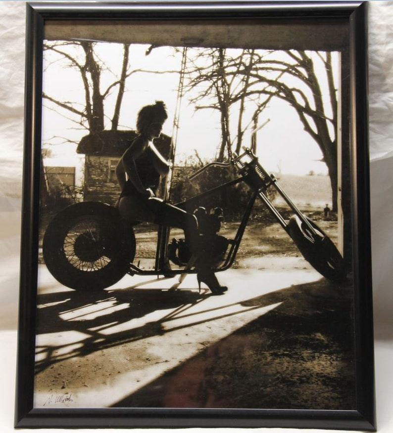 16x20 inch framed poster of a topless pin-up girl on an old image 0