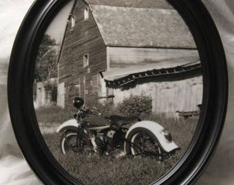 11x14 inch Framed oval print of vintage Harley motorcycle near an old barn