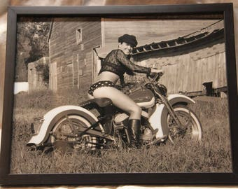 11x14 inch framed print of a lovely pin-up girl on an old Harley-Davidson motorcycle