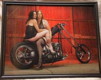 ON SALE!!!  Framed 11x14 inch photo of a 2 biker babes on a chopper!