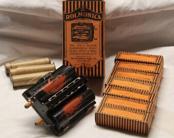 Original Rolmonica (harmonica) with original box and 10 rolls - Great condition!