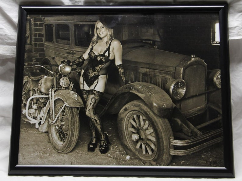 16x20 inch framed poster of a pin-up girl with and old Harley image 0