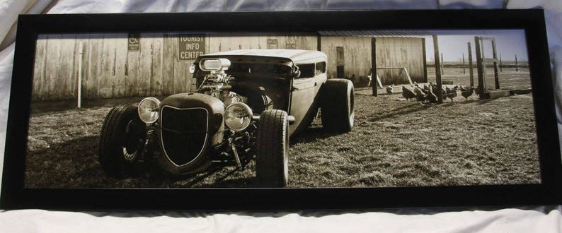 Framed 12x36 inch large panoramic poster of old farm scene image 0