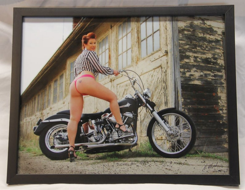 11x14 framed photo a voluptuous red haired biker babe with an image 0