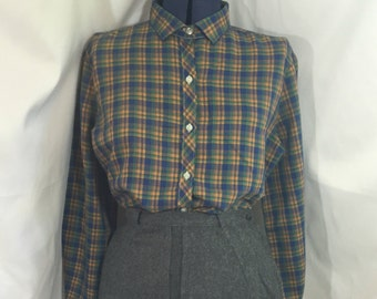 Prepped for Success Blouse - Vintage Button Down Shirt - Large Vintage Shirt - Vintage Plaid Shirt - Long Sleeve Shirt - Vintage Office