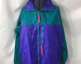 Multi Color Details about  /Vintage 1990s Columbia Sportswear Windbreaker Athletic Jacket Sz L