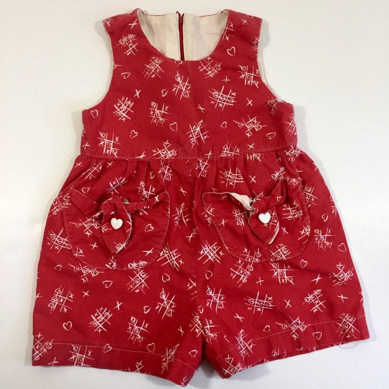 7527b4cc1230 Girl s Vintage Heart Romper 3T Romper 4T Romper 3T