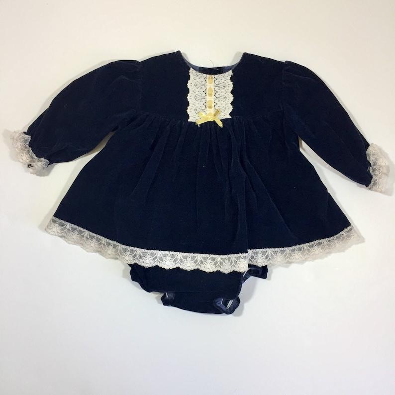 420f1a60c Vintage Velvet Christmas Dress Size 6 12 months Blue | Etsy