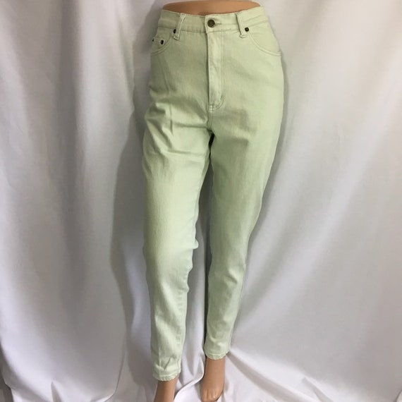 Women's Vintage Mint Green High Waisted Jeans - Vi