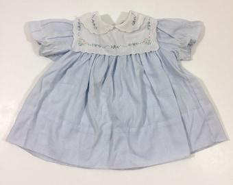 Vintage Baby Dress - 0-3 Month Dress - Apron Dress - 80's Baby Dress - Pinstripe Dress - Vintage Dress - Blue Baby Dress - 80's Dress