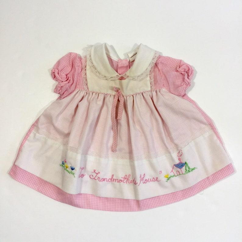 5ddd5cd6d Vintage Pinafore Style Pink Gingham Dress 6 Month Dress 6 | Etsy