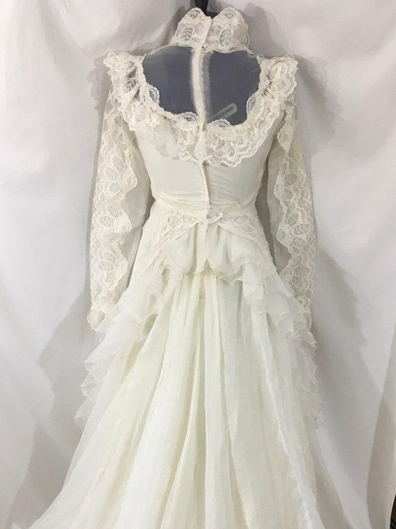 Vintage 70's Boho Wedding Gown - Small Vintage We… - image 9