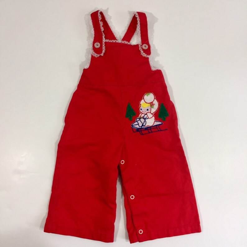 ffcc23908 Vintage Girl s Overalls Red Overalls 9 Month Overalls