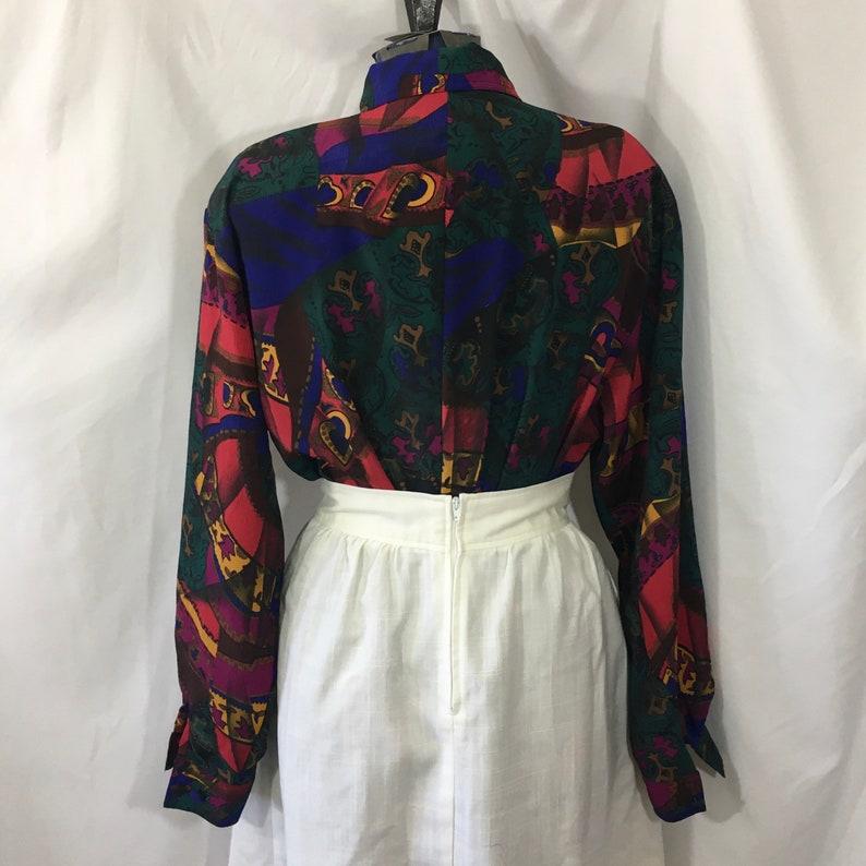 Vintage 80\u2019s Bright Abstract Print Button Down Shirt Large XL Vintage 80\u2019s Blouse Vintage XL Long Sleeve Shirt Vintage Large Blouse