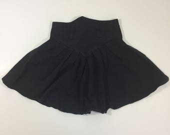 Girl's Vintage High Waisted Black Skirt - 25  inch Waist - Girls 10 Womens XS S - Vintage Skirt - XS Skirt - High Waist Skirt - 90's Skirt