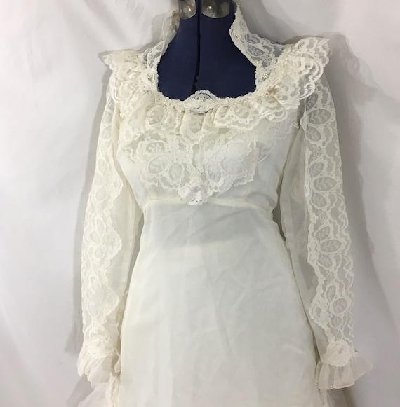 Vintage 70's Boho Wedding Gown - Small Vintage We… - image 8