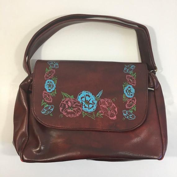Vintage 70's Faux Leather Purse - Boho Purse - Vin