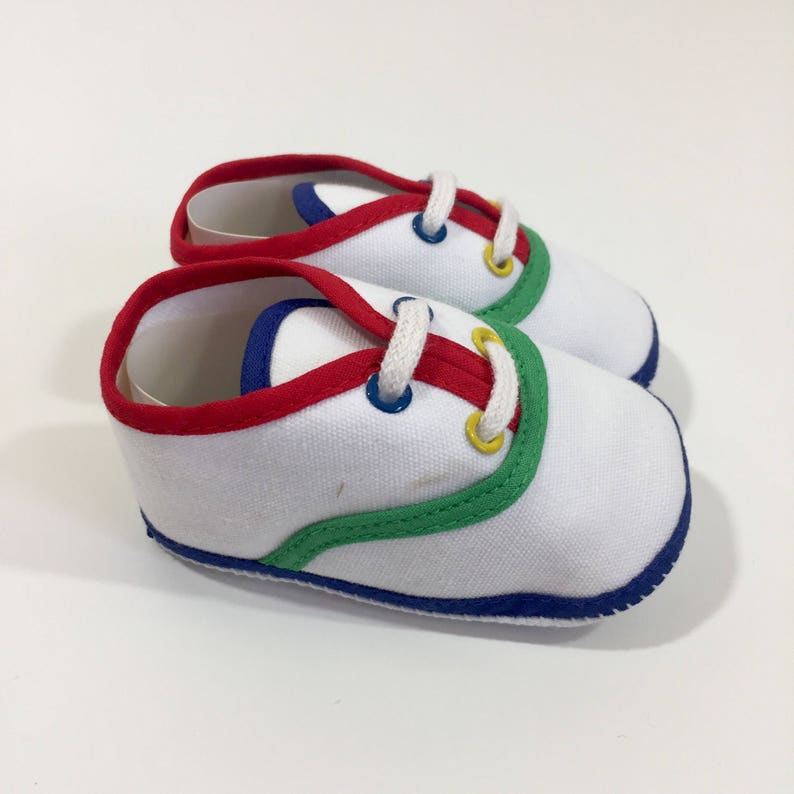 0eced9823c636 Vintage Crib Shoes - Size 1 - Vintage Baby Shoes - Boy's Shoes - Girl's  Shoes - Wee Kids Shoes - White Baby Shoes - Canvas Baby Shoes