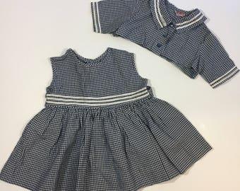 50's Baby Dress & Jacket - Size 18 months 2T  - Vintage Gingham Dress - Gingham Baby Dress - Vintage Baby Dress - 50's Toddler Dress - Blue