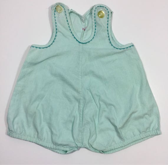 Green Vintage Bubble Romper - 6 12 month romper -