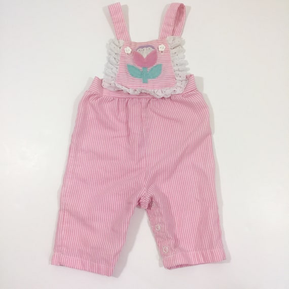 Vintage Baby Girl's Overalls - 3 Month Vintage - … - image 1