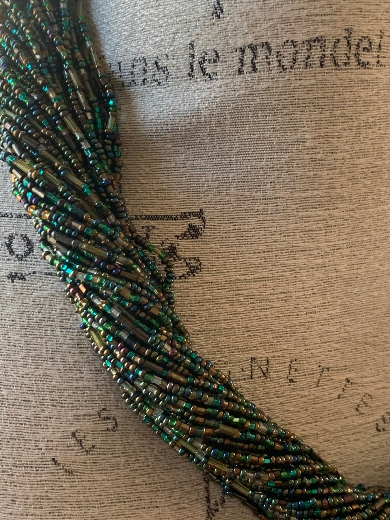 Women/'s Multi Strand TealTurquoise Seed beaded necklace