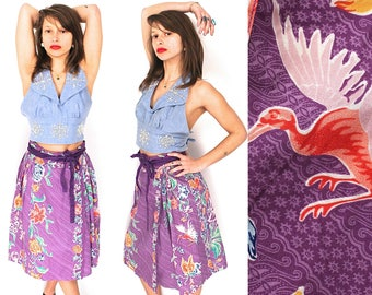 Vintage Kenzo Jap Skirt - 1970s Rare Kenzo Jap Floral Print Wrap Skirt - 70s Kenzo Jap Paris Flower Print Wrap Midi Skirt - Kenzo Designer