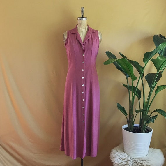 Vintage 1990s Mulberry Pink Raw Silk Button Up Dre