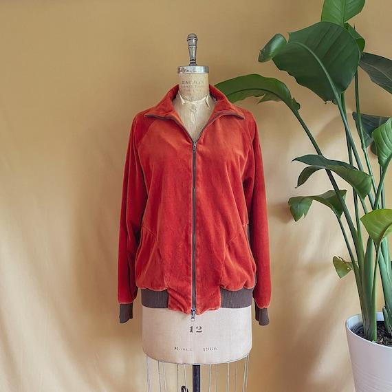 Vintage 1970s Rust Velour Zip Up Jacket - 70s Rus… - image 3