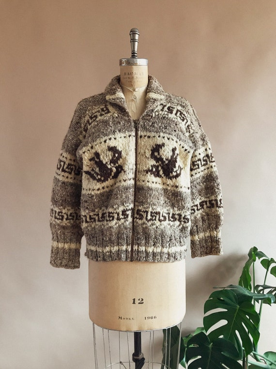 Vintage 1940s 1950s Cowichan Sweater With Swallows