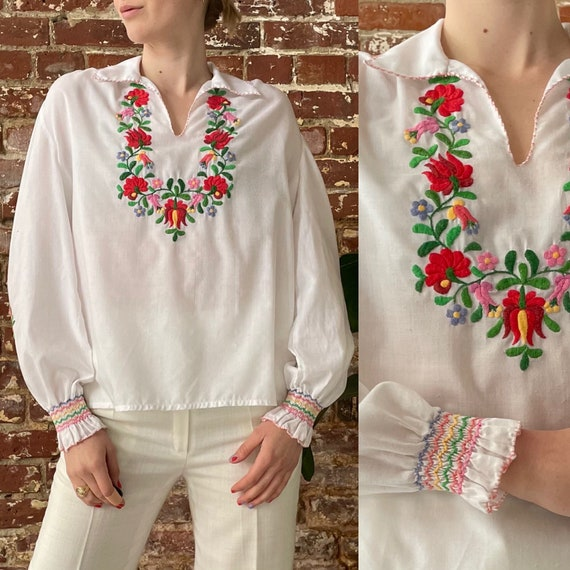 ON HOLD! Vintage 1970s Rainbow Floral Embroidered… - image 1