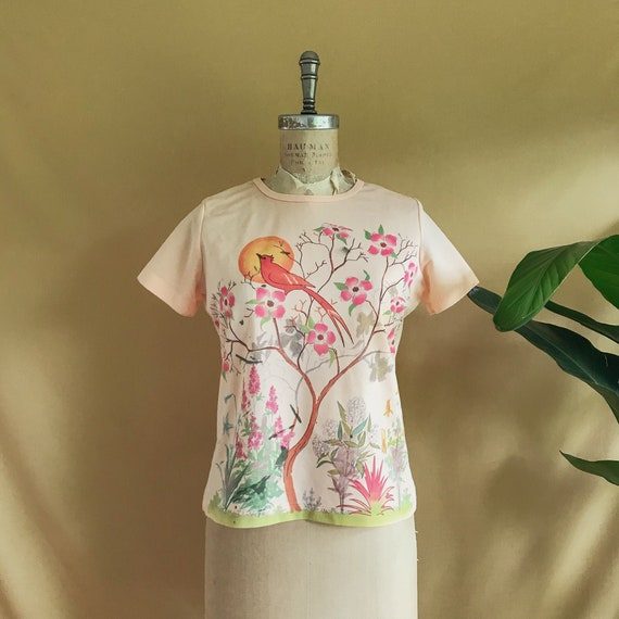 Vintage 1970s Hand Painted Floral Robin Tee - 70s