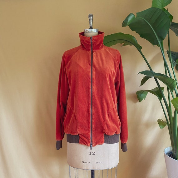 Vintage 1970s Rust Velour Zip Up Jacket - 70s Rust