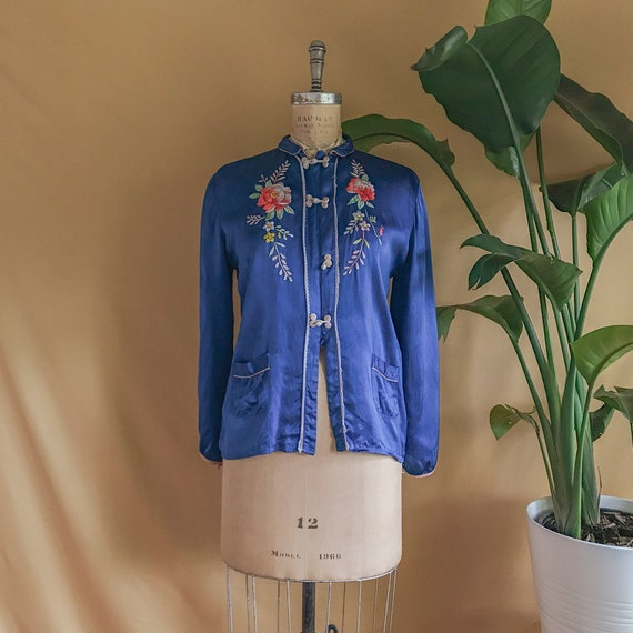 Antique Floral Embroidered Silk Chinese Blouse - 1