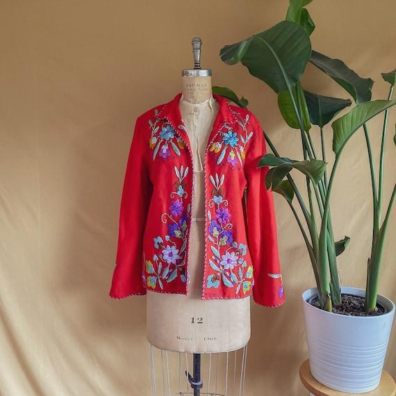 Vintage 1950s Floral Embroidered Mexican Souvenir