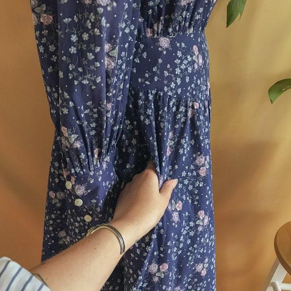 1970s 70s Gunne sax dress prairie Victorian cottage core witchy renaissance floral navy purple