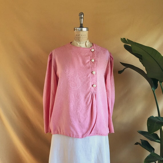 Vintage 1980s Dusty Rose Paisley Print Pearl Butto