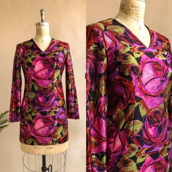 Vintage 1960s/1970s Floral Tunic Micro Mini Dress