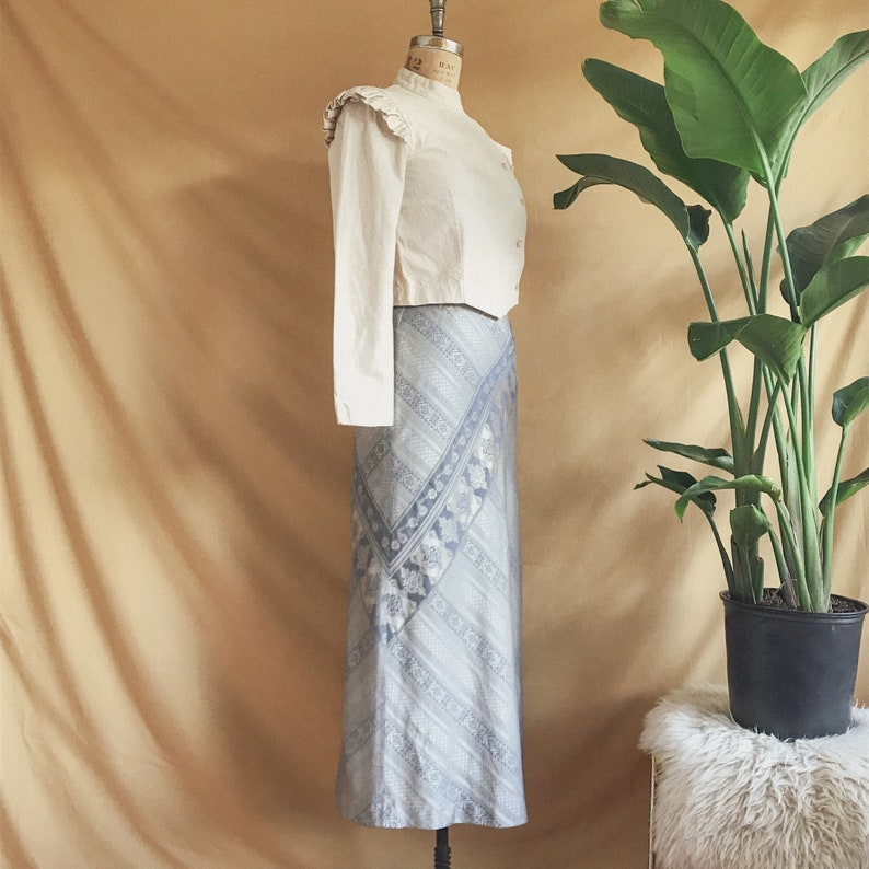 Cotton Blend Size 28 Waist Made in Italy 90s DKNY Silver Grey Beige Filigree Maxi Skirt Vintage 1990s DKNY Textured Maxi Skirt