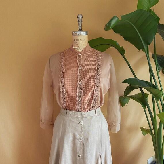 Vintage 1940s 1950s Sheer Nylon Crochet Lace Pleat
