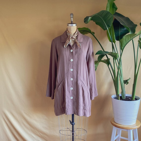 Vintage 1990s Dusty Brown Linen Shell Button Jacke