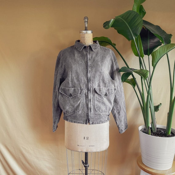 Vintage 1990s Dusty Brown Linen Bomber Jacket - 90