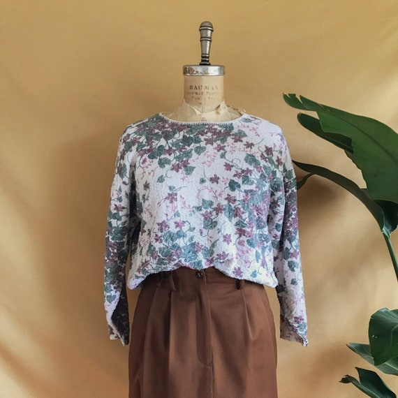 Vintage 1990s Floral Vine Print Textured Cotton Bl