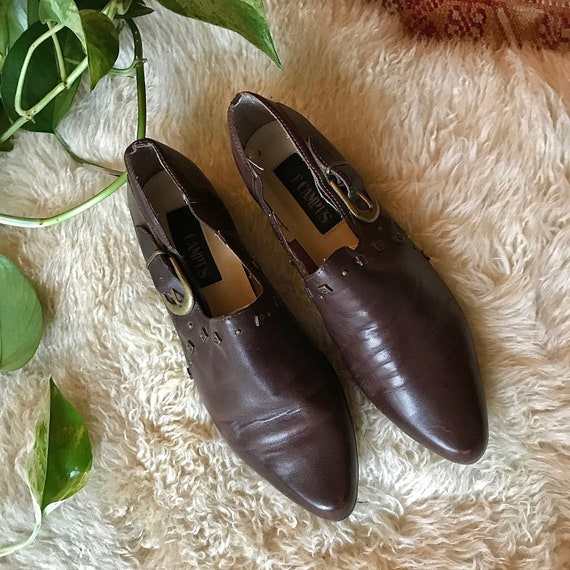 Vintage Cowboy Ankle Boot - 90s Brown Leather Boot