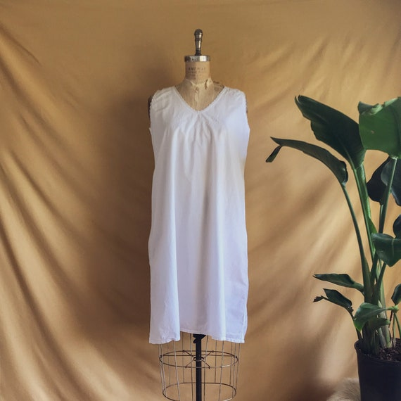 Antique White Cotton Night Dress - Antique Cotton… - image 1