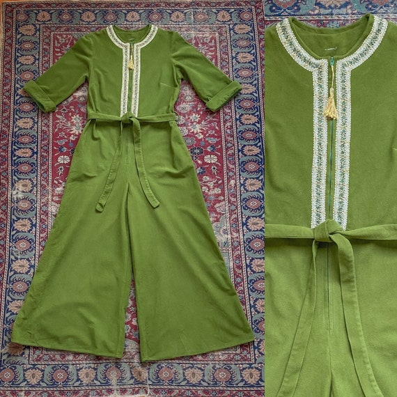 Vintage 1970s Olive Green Lurex Embroidered Jumpsu